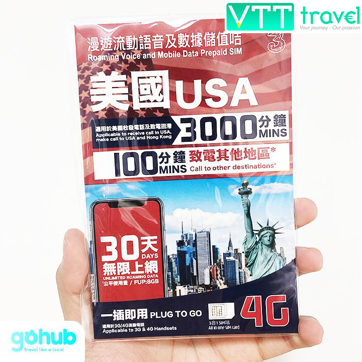 SIM du lịch quốc tế USA - 4G